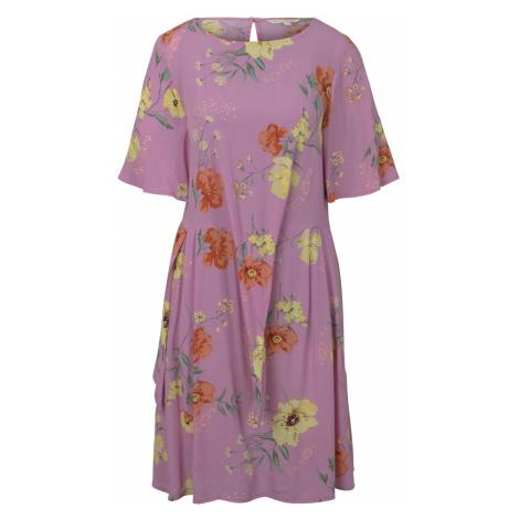 TOM TAILOR DENIM Damen Kurzes Kleid mit Knoten-Detail im floralen Muster, rosa