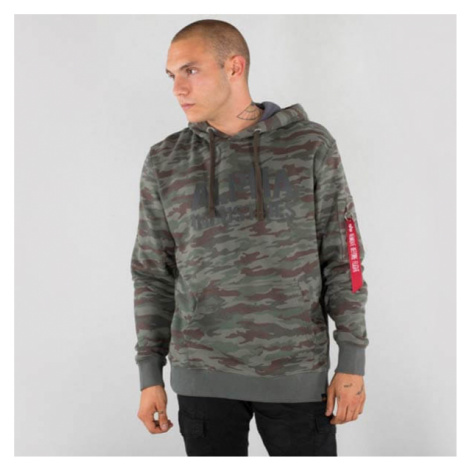 Alpha Industries Camo Print Hoody Army Green