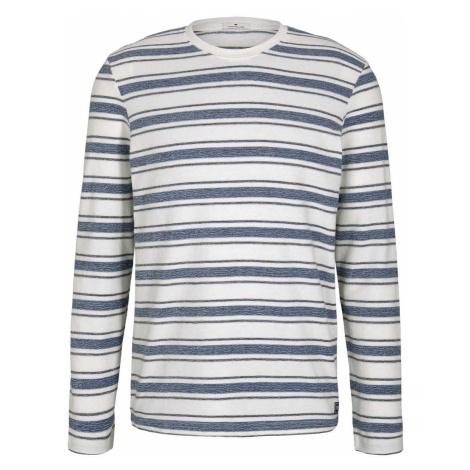 TOM TAILOR Herren Gestreiftes Langarmshirt mit Struktur, blau