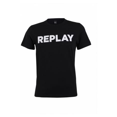 Replay Herren T-Shirt Basic Print Jersey Crew Neck
