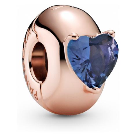Pandora 789203C02 Rose Clip-Charm Blauer Herz-Soltiaire