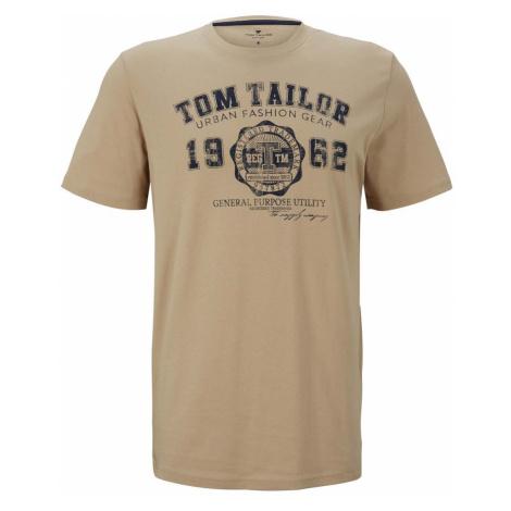 TOM TAILOR Herren T-Shirt mit Logo-Print, beige