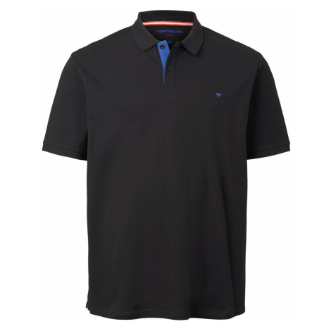 TOM TAILOR Herren Poloshirt mit Logo-Stickerei, schwarz