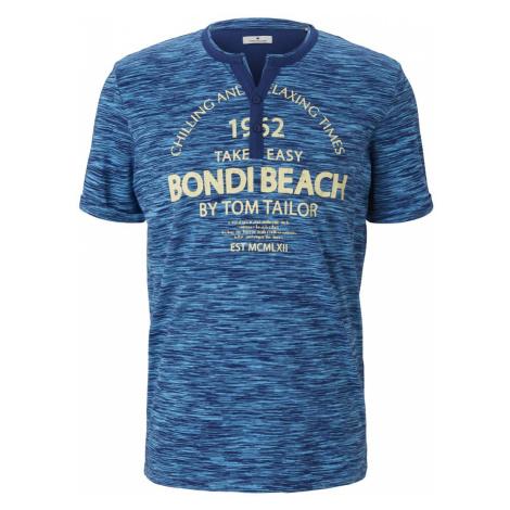 TOM TAILOR Herren Serafino T-Shirt mit Print, blau