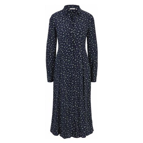TOM TAILOR Damen Midi Hemdkleid mit floralem Muster, blau