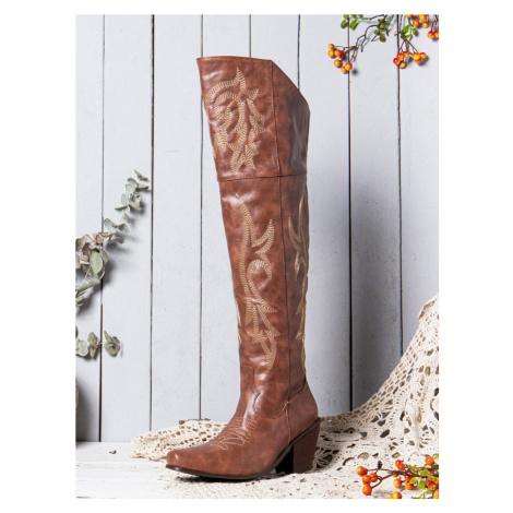 Frauen große Stammesmuster Retro warmes Knie hoch Reiten Stiefel