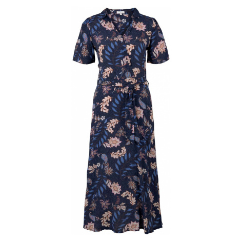 TOM TAILOR Damen Wickelkleid mit Blumenmuster, blau