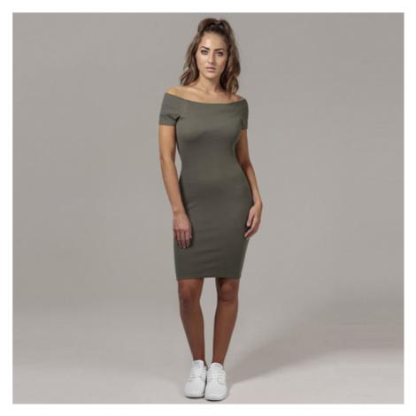 Urban Classics Ladies Off Shoulder Rib Dress olive