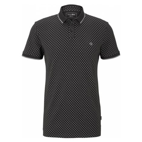 TOM TAILOR DENIM Herren Poloshirt mit Alloverprint, schwarz