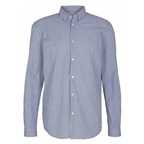 TOM TAILOR DENIM Herren Gestreiftes Hemd, blau