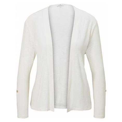 TOM TAILOR Damen Shirt-Cardigan mit gerafften Ärmeln, weiß, unifarben