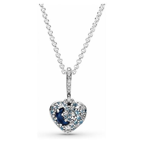 Pandora 399232C01-50 Damen-Halskette Funkelnder Blauer Mond & Sterne Herz