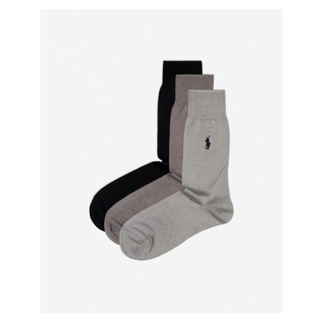 Polo Ralph Lauren 3 Paar Socken Schwarz Grau