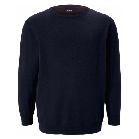 TOM TAILOR Herren Basic Pullover mit Logo-Stickerei, blau