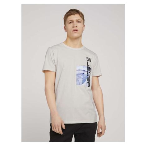 TOM TAILOR DENIM Herren Fotoprint T-Shirt mit Bio-Baumwolle , beige