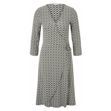 TOM TAILOR Damen Gemustertes Jersey-Wickelkleid, grün, gepunktet