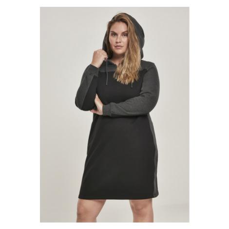 Urban Classics Ladies 2-Tone Hooded Dress black/charcoal