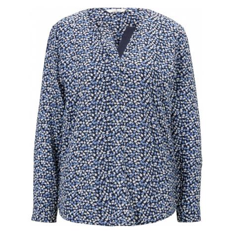 TOM TAILOR Damen Gemusterte Henley-Bluse mit Turn-Ups, blau