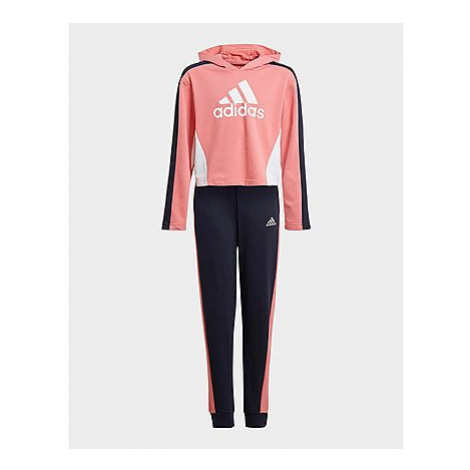 Adidas Colorblock Crop Top Trainingsanzug - Hazy Rose / Black / White, Hazy Rose / Black / White
