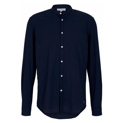 TOM TAILOR DENIM Herren Stehkragenhemd mit feiner Struktur, blau