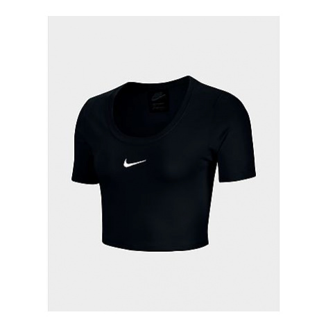 Nike Nike Sportswear Essential Short-Sleeve Crop Top Damen - Black/White - Damen, Black/White