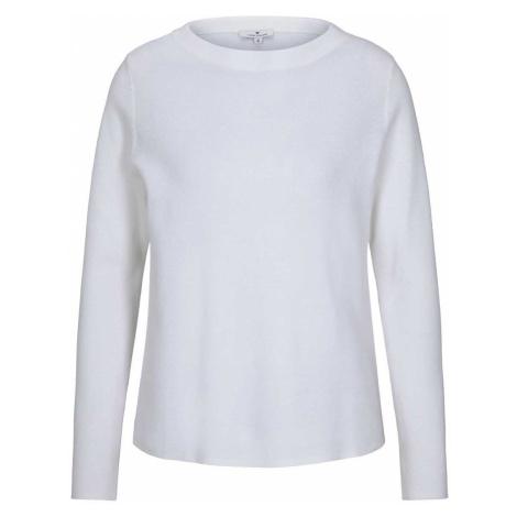 TOM TAILOR Damen Basic Pullover mit Stehkragen, weiß