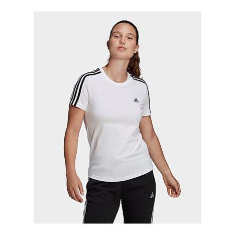 Adidas LOUNGEWEAR Essentials Slim 3-Streifen T-Shirt - White / Black - Damen, White / Black