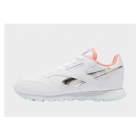 Reebok classic leather shoes - White / Chalk Blue / Twisted Coral, White / Chalk Blue / Twisted