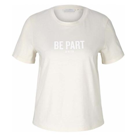 TOM TAILOR DENIM Damen T-Shirt mit Bio-Baumwolle , beige