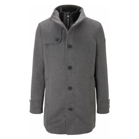 TOM TAILOR Herren Stehkragen Mantel aus Wollmischung, grau
