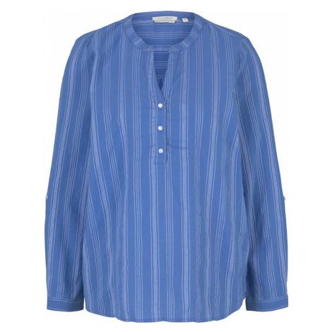 TOM TAILOR DENIM Damen Gestreifte Tunika mit Bio-Baumwolle, blau