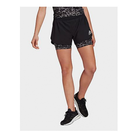 Adidas Fast Two-in-One Primeblue Graphic Shorts - Black / Grey Four - Damen, Black / Grey Four